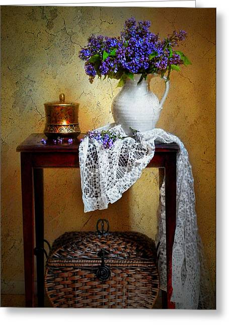 Vase Of Flowers Greeting Cards - Lilacs and Lace Greeting Card by Diana Angstadt