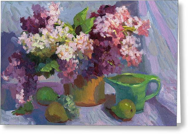 Basket Pot Greeting Cards - Lilacs and Pears Greeting Card by Diane McClary