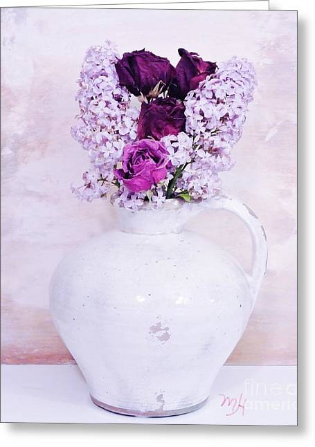 Pottery Pitcher Digital Greeting Cards - Lilacs and Roses Greeting Card by Marsha Heiken