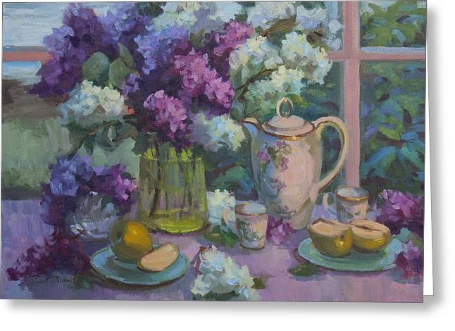 Tea Set Greeting Cards - Lilacs and Tea Greeting Card by Diane McClary