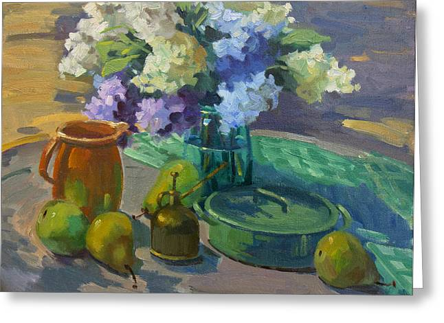 Pitcher Greeting Cards - Lilacs Harmony in Green Greeting Card by Diane McClary