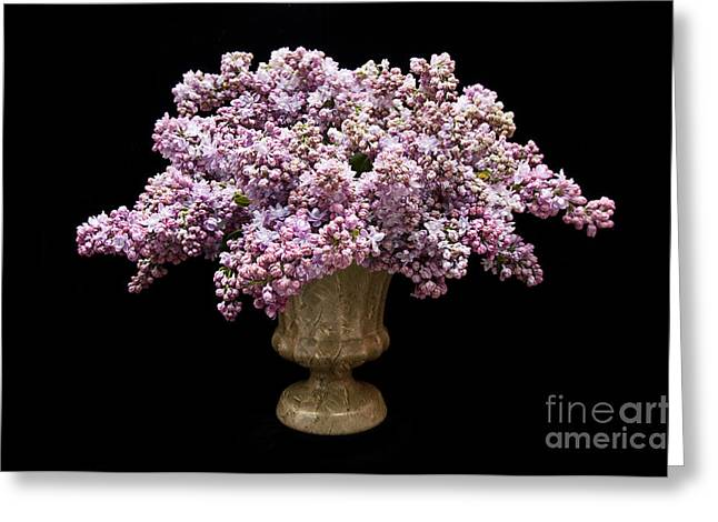 Violet Art Mixed Media Greeting Cards - Lilacs In A Green Vase - Flowers - Spring Bouquet Greeting Card by Andee Design
