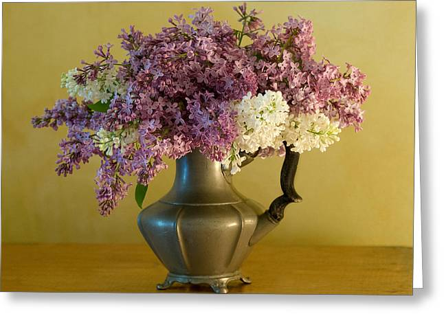 Pewter Jug Greeting Cards - Lilacs in a Pewter Jug Greeting Card by Ness Welham