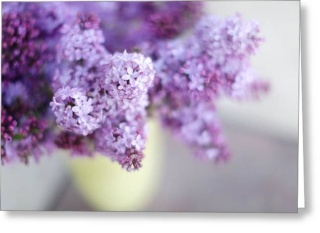 Lilac Greeting Cards - Lilacs in a Vase Greeting Card by Rebecca Cozart