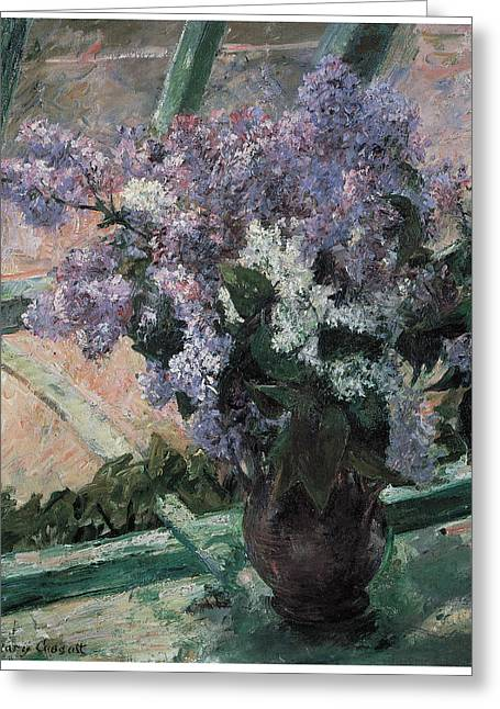 Mary Greeting Cards - Lilacs in a Window Greeting Card by Mary Cassatt