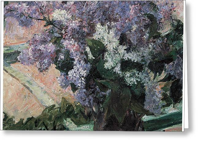 Lilacs in a Window Greeting Card by Mary Cassatt