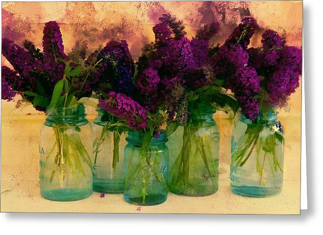 Intense Color Greeting Cards - Butterfly Bush In Jars Greeting Card by Bernie  Lee
