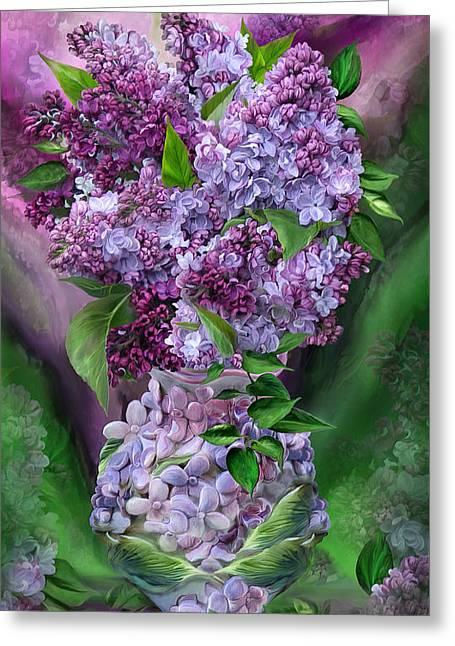 Lilac Greeting Cards - Lilacs In Lilac Vase Greeting Card by Carol Cavalaris