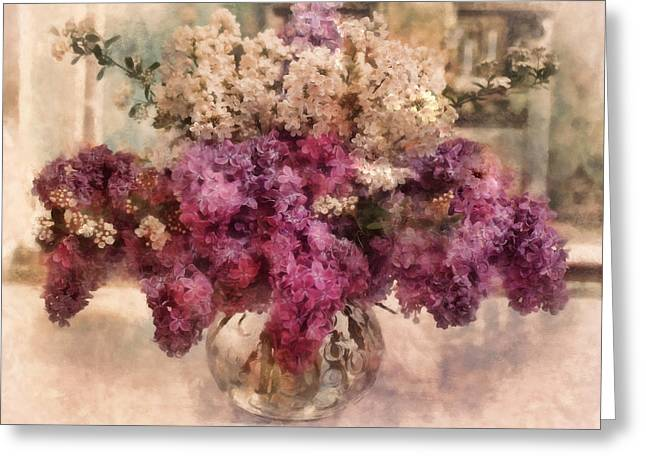 Lilac Greeting Cards - Lilacs In The Parlor Greeting Card by Bernie  Lee
