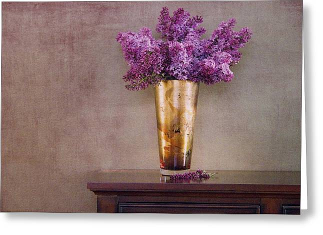 Lilac Greeting Cards - Lilacs in Vase 1 Greeting Card by Rebecca Cozart