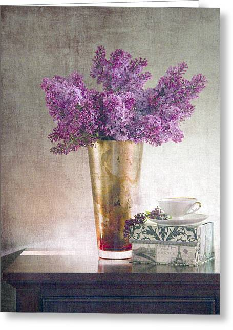 Lilac Greeting Cards - Lilacs in Vase 2 Greeting Card by Rebecca Cozart