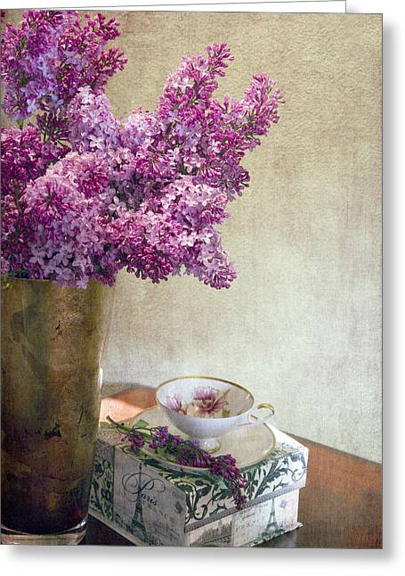 Lilac Greeting Cards - Lilacs in Vase 3 Greeting Card by Rebecca Cozart