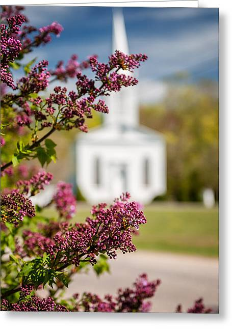 New England Village Greeting Cards - Lilacs of quintessential New England Greeting Card by Thomas Schoeller