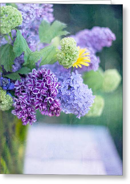 Light Purple Greeting Cards - Lilacs on the Table Greeting Card by Rebecca Cozart