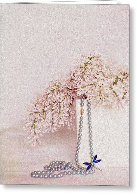 Dragonflies Greeting Cards - Lilacs Pearls and a Bit of Sparkle Greeting Card by Rebecca Cozart
