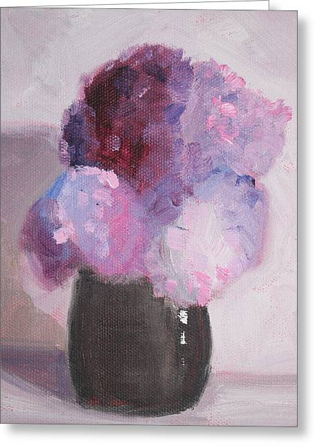 Violet Blue Greeting Cards - Lilacs Still Life Floral Painting Greeting Card by Nancy Merkle