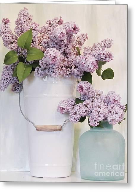 Ceramic Digital Art Greeting Cards - Lilacs Still Life Greeting Card by Marsha Heiken