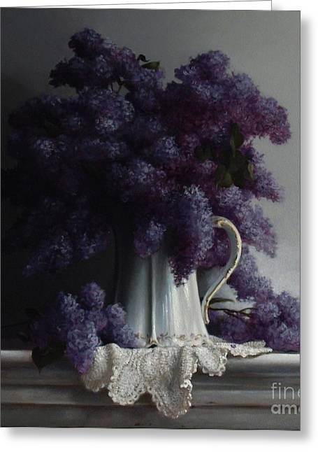Pitcher Paintings Greeting Cards - LILACS study no.2 2011 Greeting Card by Larry Preston