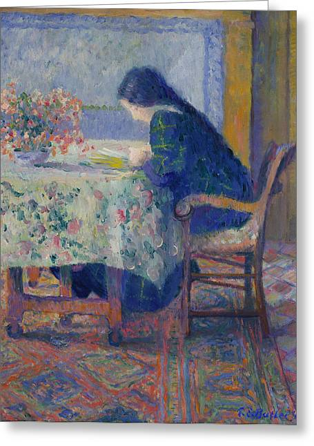 Lili Greeting Cards - Lili Butler Reading at the Butler House. Giverny Greeting Card by Theodore Earl Butler