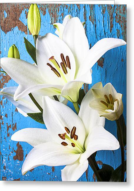 Stamen Greeting Cards - Lilies against blue wall Greeting Card by Garry Gay