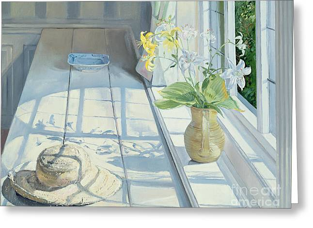 Window Light Greeting Cards - Lilies and a Straw Hat Greeting Card by Timothy Easton