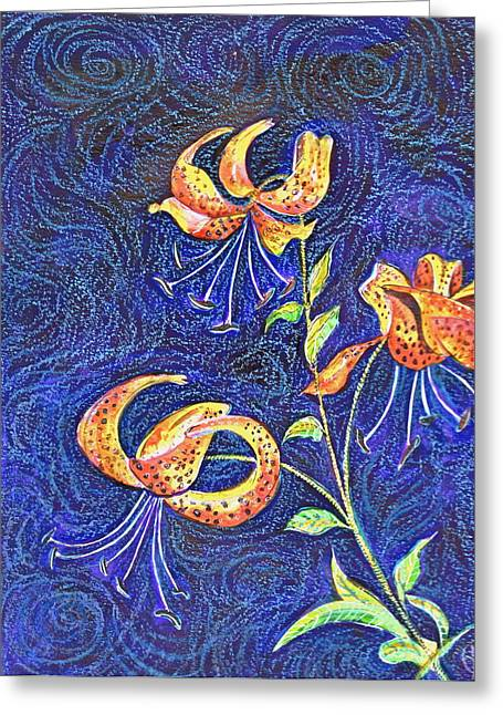 Lilies At Night Greeting Card by Ion vincent DAnu