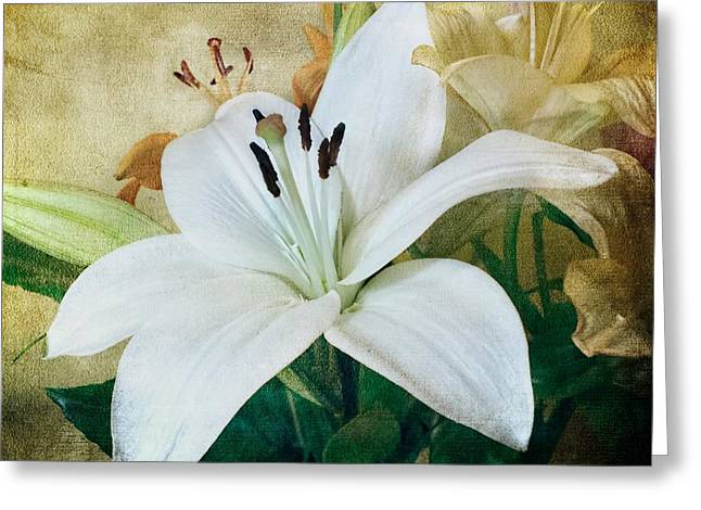 Candidum Greeting Cards - Lilies for Linda Greeting Card by Melissa Bittinger