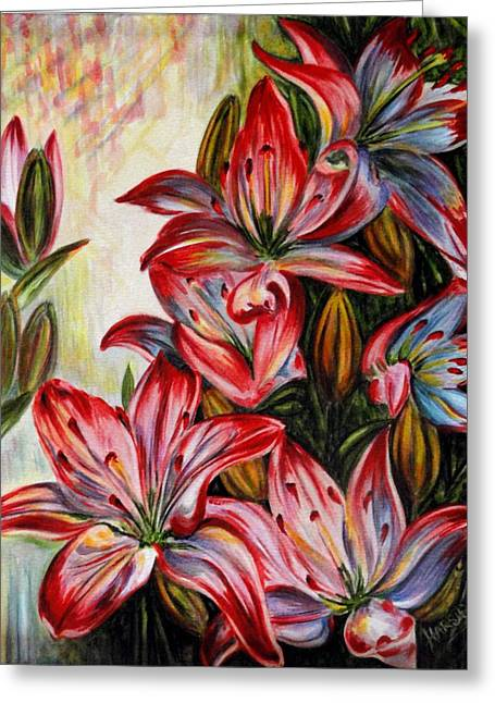 Lilies Greeting Card by Harsh Malik