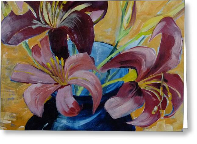 Lilies In A Vase Greeting Card by Suzanne Willis