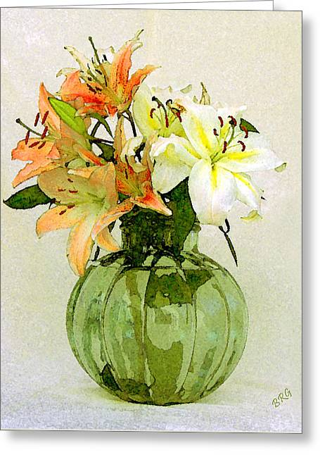 Water Jars Greeting Cards - Lilies In Vase Greeting Card by Ben and Raisa Gertsberg