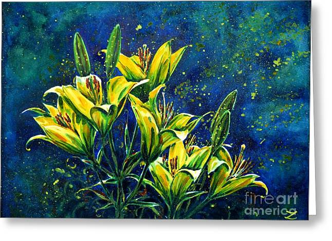 Best Selling Flower Art Greeting Cards - Lilies Greeting Card by Zaira Dzhaubaeva