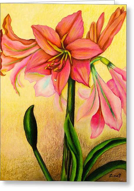 Lilies Greeting Card by Zina Stromberg