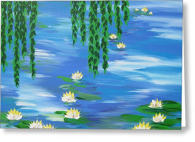 Lilly Pad Greeting Cards - Lillies 2 Greeting Card by Cathy Jacobs