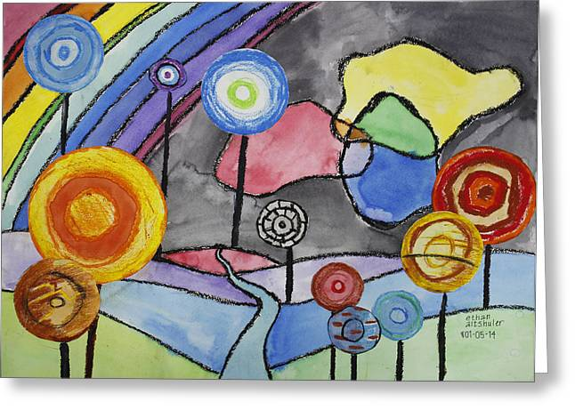 Friedensreich Paintings Greeting Cards - Lollipops and Rainbow  Greeting Card by Ethan Altshuler
