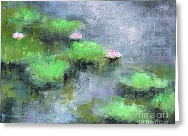 Lilly Pad Paintings Greeting Cards - Water Lillys  Greeting Card by Frances Marino