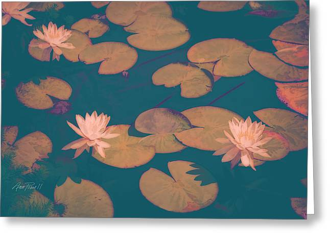 Lilly Pads Digital Art Greeting Cards - Lilly Pads in Pink  Greeting Card by Ann Powell