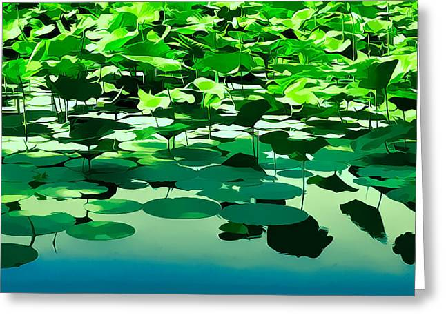 Lilly Pads Greeting Cards - Lilly Pads of Reelfoot Lake Greeting Card by Bonnie Willis
