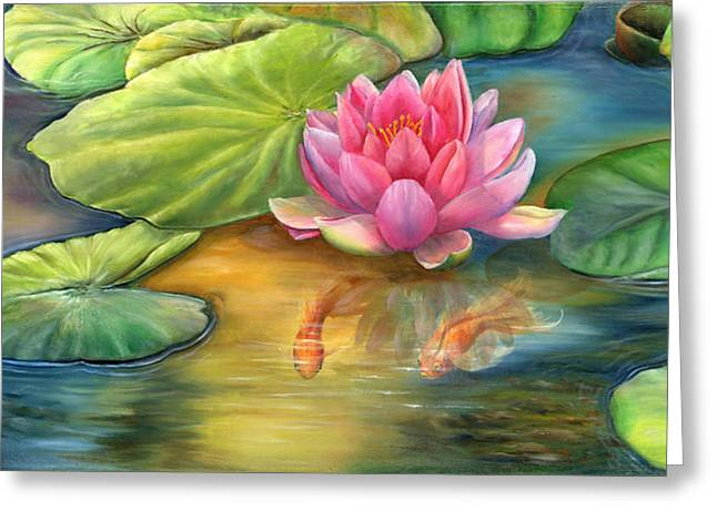 Lilly Pond Greeting Card by Kathy Brecheisen
