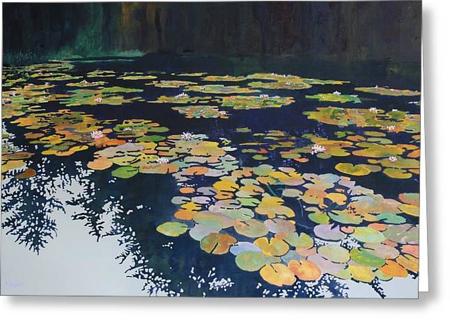 Recently Sold -  - Lilly Pad Greeting Cards - Lilly Pond on a Gray Day Greeting Card by Denny Snyder