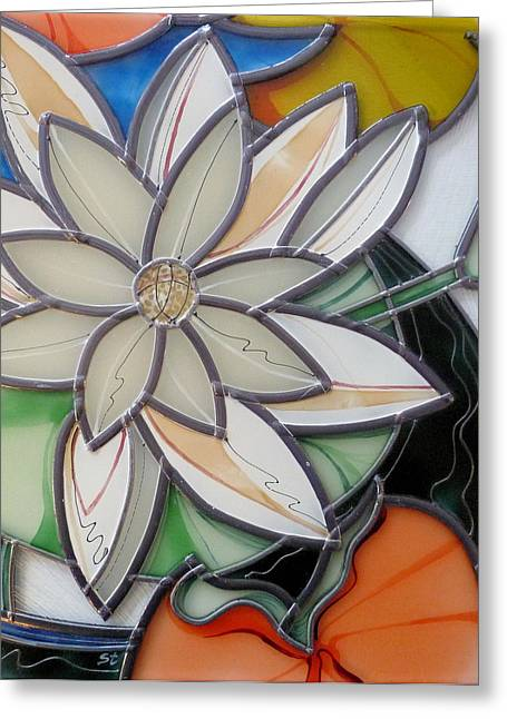 Water Lilly Glass Art Greeting Cards - Lilly Greeting Card by Sharon Cox