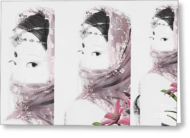 Fine Jewelry Greeting Cards - Lilly Triptych Greeting Card by Cheryl Young