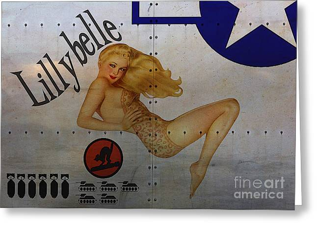 World War 2 Greeting Cards - Lillybelle Nose Art Greeting Card by Cinema Photography