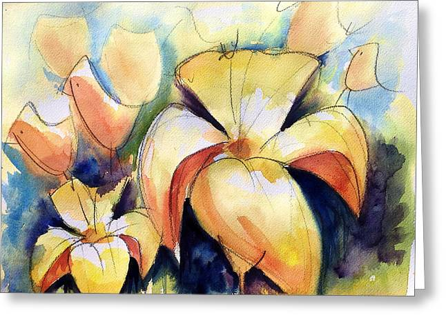 Loose Watercolor Greeting Cards - Lillys with Birds Greeting Card by Andrew Fling