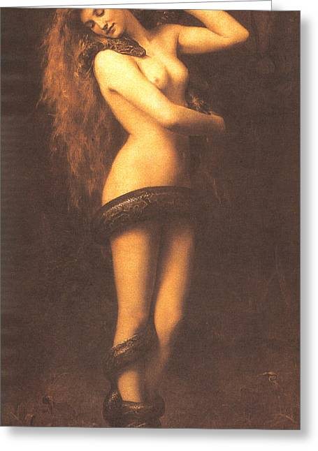 Jesus Christ Images Digital Art Greeting Cards - Lilth Greeting Card by John Collier
