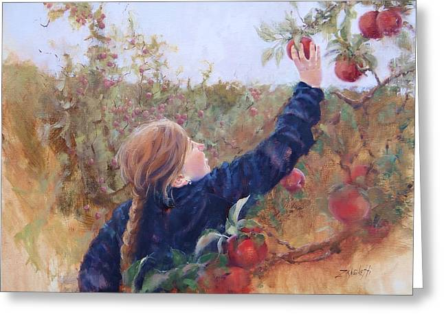 Apple Picking Greeting Cards - Lilyana Greeting Card by Laura Lee Zanghetti