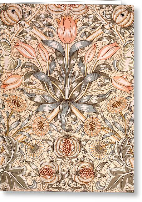 Blue Tapestries - Textiles Greeting Cards - Lily and Pomegranate wallpaper design Greeting Card by William Morris