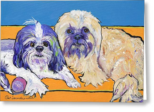 Pat Saunders-white Greeting Cards - Lily and Violet Greeting Card by Pat Saunders-White