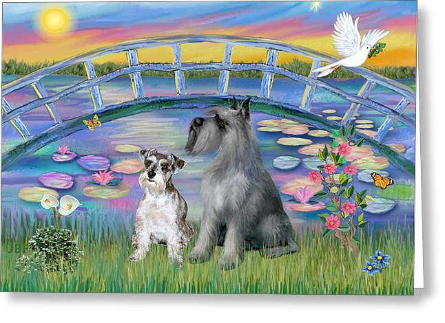 Giant Schnauzer Greeting Cards - Lily Bridge with Twoo Schnauzers Greeting Card by Jean B Fitzgerald
