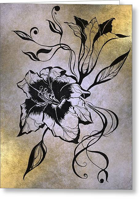 Texture Floral Drawings Greeting Cards - Lily Elegance. Golden Greeting Card by Jenny Rainbow