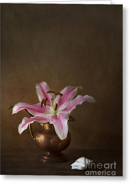 Shell Texture Greeting Cards - Lily Greeting Card by Elena Nosyreva